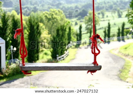 A Wooden Swing close up - stock photo