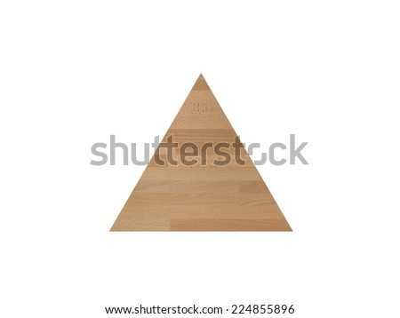 A wooden triangle shot on a white background - stock photo