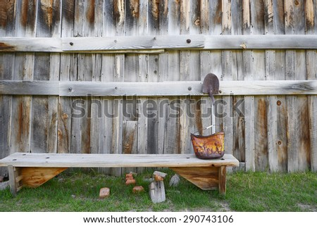 a wooden wall in Bodie historic state park of a ghost town from a gold rush era in Sierra Nevada - stock photo