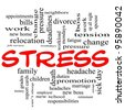 A word cloud concept in red caps around the word Stress with great terms such as pressure, deadlines, family, duties, tension, change and more. - stock vector