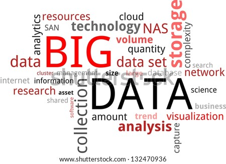 A word cloud of big data related items - stock photo