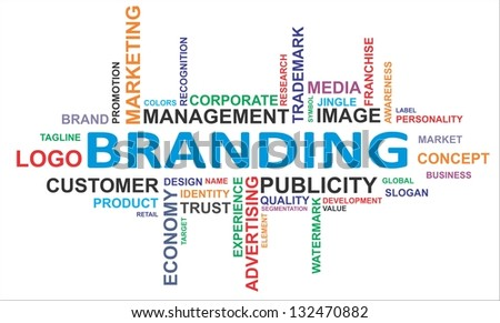A word cloud of branding related items - stock photo