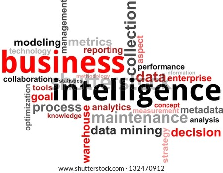 A word cloud of business intelligence related items - stock photo
