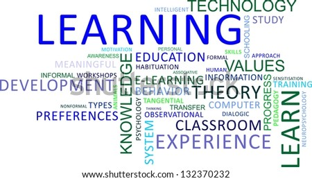A word cloud of learning related items - stock photo