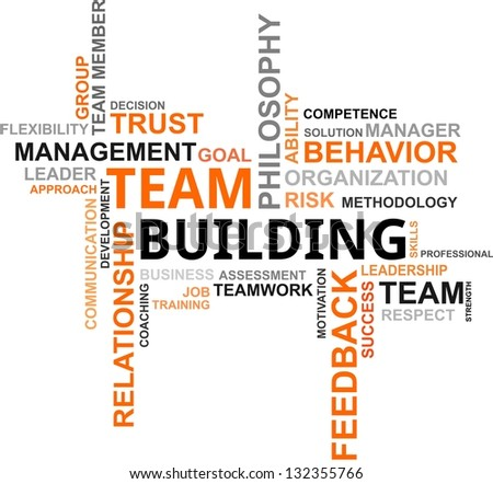 A word cloud of team building related items - stock photo
