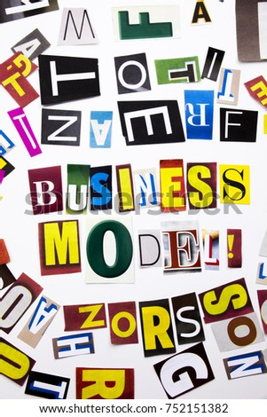 A word writing text showing concept of Business Model made of different magazine newspaper letter for Business case on the white background with space