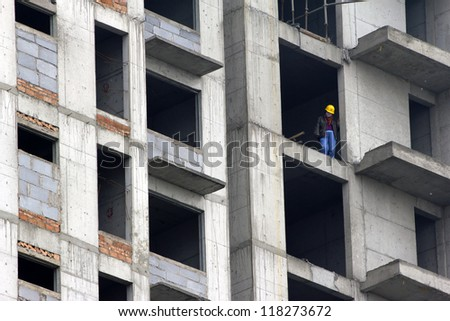 A worker at a constructing site, Datong, China
