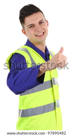 A workman with a thumbs up sign, isolated on white - stock photo