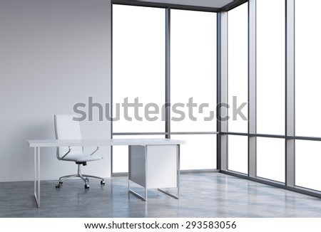 A workplace in a modern corner panoramic office, copy space on windows. A white leather chair and a white table. A concept of financial consulting services. 3D rendering. - stock photo