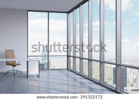 A workplace in a modern corner panoramic office in Manhattan, New York. A concept of financial consulting services. 3D interior. - stock photo
