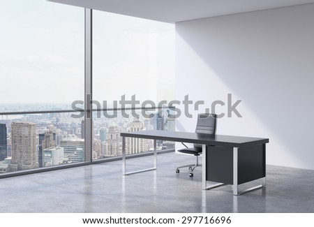 A workplace in a modern panoramic office, New York city view from the windows. A concept of financial consulting services. 3D rendering. - stock photo