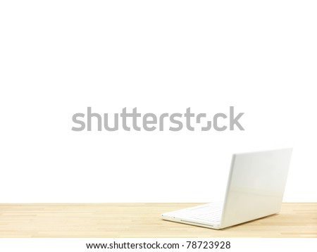 A workplace scene isolated against a white background - stock photo