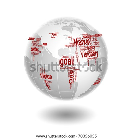 a world map made from business words as a concept of global business - stock photo