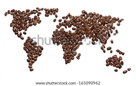 A world map made of roasted coffee beans showing that people drink coffee worldwide. - stock photo