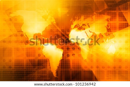 A world map over a yellow/orange background - stock photo