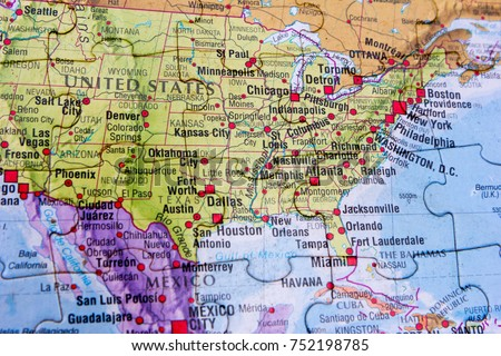 A World Map Puzzle. United States Of America And Mexico And A Part Of  Caribbean