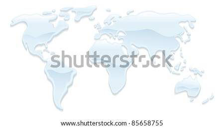 A world map with water droplets forming the continents - stock photo