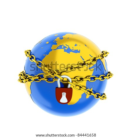 a world protection concept on white - stock photo