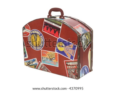 A  world traveler suitcase isolated over a white background - stock photo