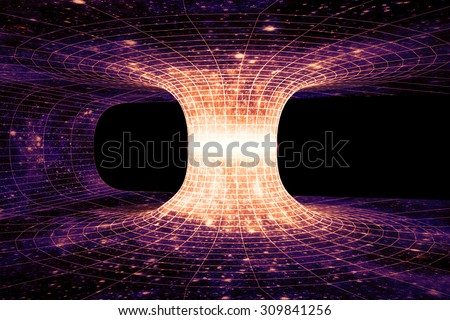 A wormhole, or Einstein-Rosen Bridge, is a hypothetical shortcut connecting two separate points in spacetime. - stock photo