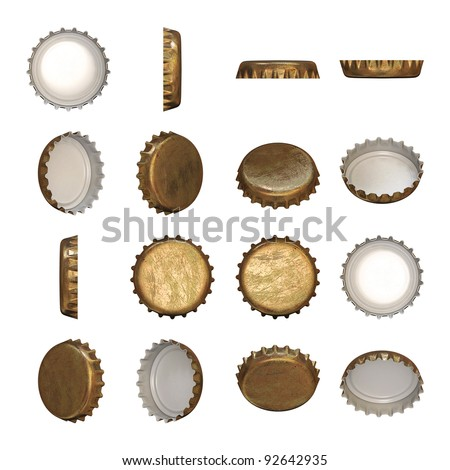 A worn golden crown cap in different angles. - stock photo