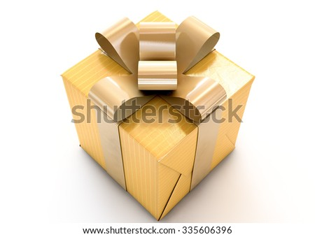 A wrapped gift box in a golden paper and ribbon on an isolated white studio background