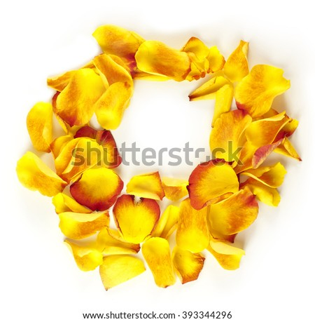 A wreath made up of bright yellow rose petals, a frame for text