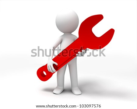 a wrench/A 3d people was holding a wrench - stock photo