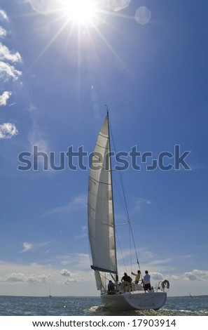 A yacht sailing on a bright sunny summer day