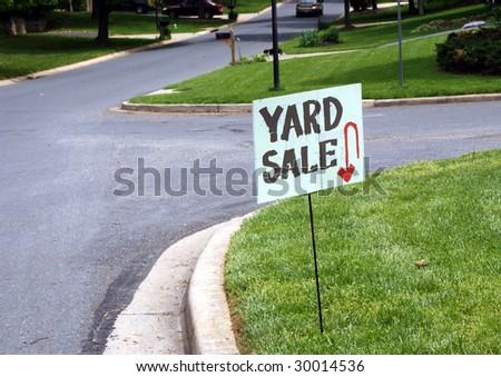 a yard sale sign - stock photo
