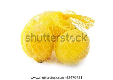 A yellow bunch of three lemons isolated over white - stock photo