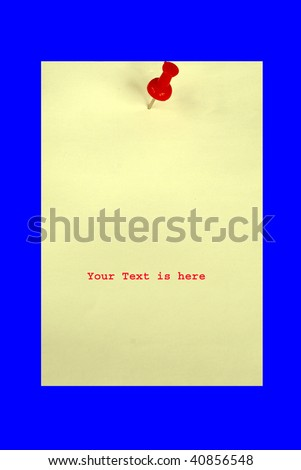 A yellow card with a red pin isolated in blue.  Your text is here. - stock photo