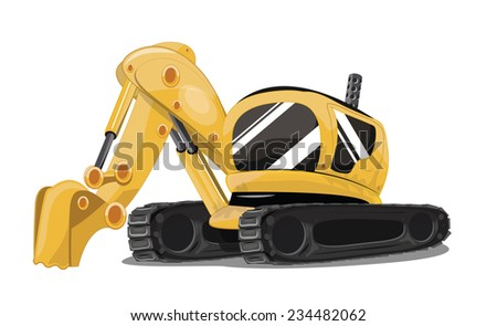 A yellow construction excavator or digger with caterpillar tracks and a digging bucket.