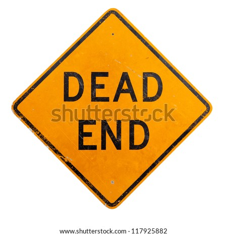 A yellow dead end road sign on a white background - stock photo