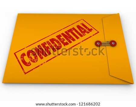 A yellow envelope with a red stamp with the word Confidential containing information that is a secret, private, classified, restricted message - stock photo