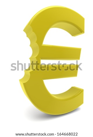 a yellow euro sign with one bite - stock photo