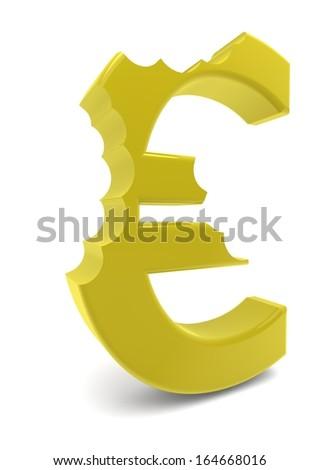 a yellow euro sign with three bites - stock photo