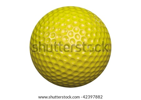 A yellow golf ball isolated on white background including clipping path - stock photo