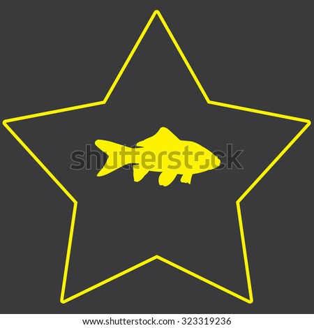 A Yellow Icon Isolated on a Grey Background inside a star - Goldfish