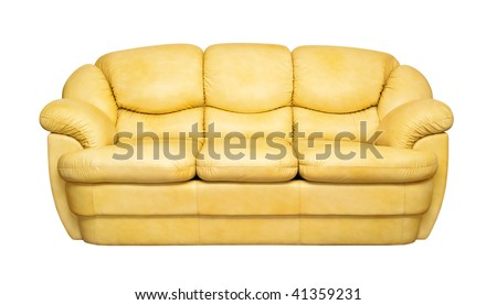 A Yellow Leather Sofa Isolated On White Background (front View)