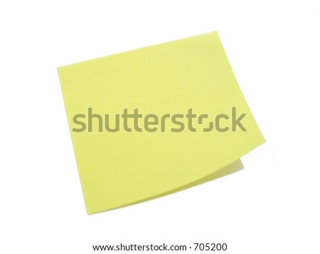 a yellow note on a blank background - stock photo