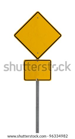 a yellow road sign with a white background for you to use in your design or presentaion. - stock photo