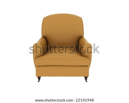 a yellow single leather sofa isolated on white background.