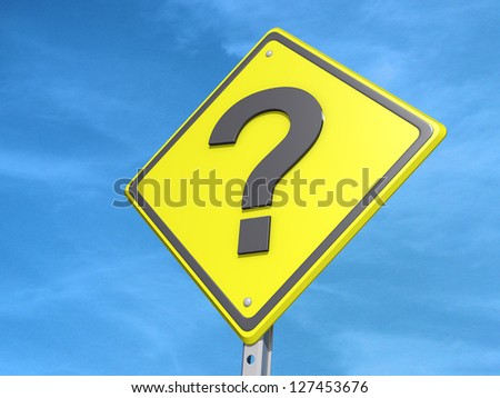 A yield road sign with a question mark on a blue sky Background.