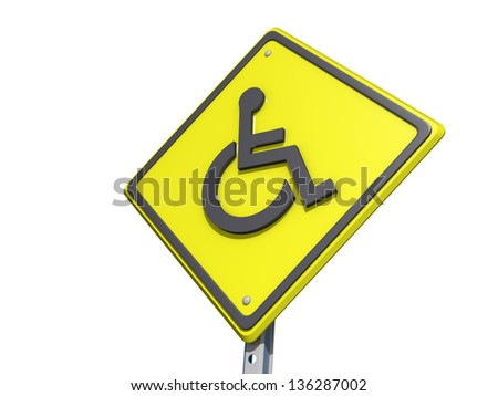 A yield road sign with a Wheelchair symbol - stock photo