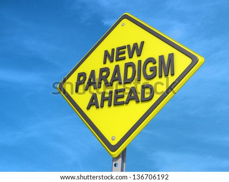 A yield road sign with New Paradigm Ahead