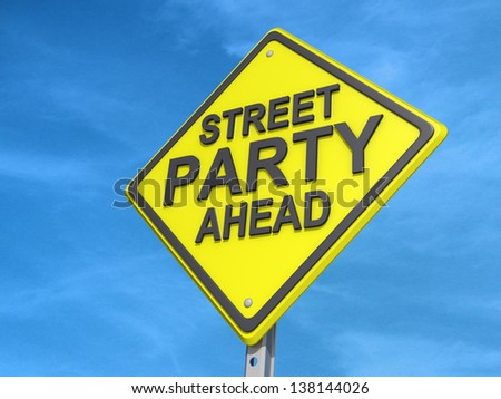 A yield road sign with Street Party Yield - stock photo