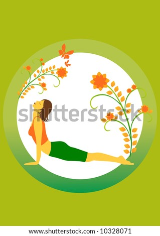 a yoga position on the green background. - stock photo