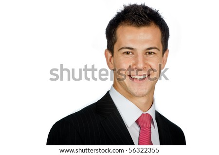 A young and attractive businessman standing against white background - stock photo