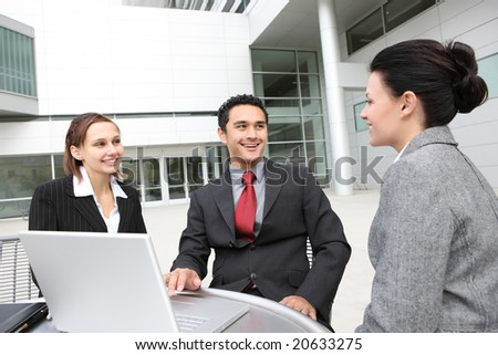 A young and diverse man and woman business team at office - stock photo